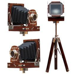 Antique Vintage Replica Camera on Wooden Tripod