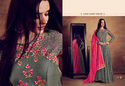 Rayon Grey Embroidered Semi-stitched Heavy Anarkali Suit