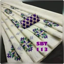 EMBROIDERY WORK LINEN COTTON SAREE