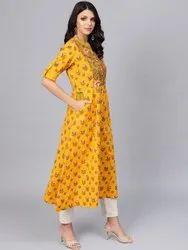 Khadi Yellow Printed Long Kurta