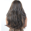 Dark Brown & Golden Wavy Style Full Head Wig