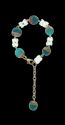 White, Turquoise & Gold Glass Beads With Golden Color Chain Bracelet
