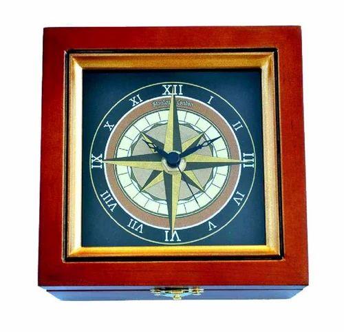Brown Sapphire Nautical Compass Rose Clock