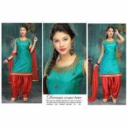 Silk Stitched Ladies Designer Patiala Salwar Suit, Machine wash