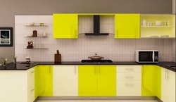 White And Parrot Green Coated Home Modular Kitchen Rs 850 Square