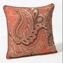 16 X 16 Inch App Orange Floral Embroidery Cushion Cover