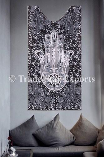 Cotton Rectangle Twin Hamsa Hand Tapestry Wall Hanging Sizecm 140 X220