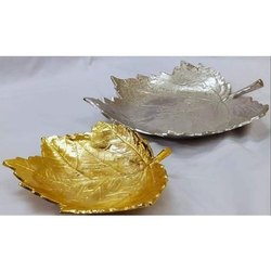 Golden Aluminium Maple Leaf Serving Platter