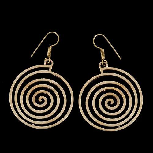 hammered brass earrings bohemian earrings brass earrings Spiral earring Gold color earring