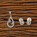 White Height = 30 Mm || Width = 15 Mm And Earring Height = 14 Mm Cz Delicate Pendant Set With Rhodium Plating 62563
