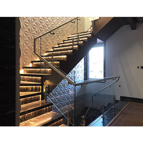 Panel Cable Stainless Steel Glass Designer Duplex Staircase With