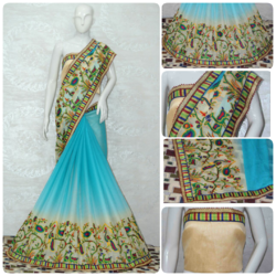 Women's Chiffon Shade Effect Saree, Length: 5.5 m