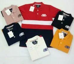 Cotton Multicolor Men Polo Collar T Shirt