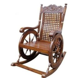 Mayil Furnitures Teak Wood Antique Rocking Chair, Finish: Wood Finish