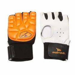Mayor White and Orange & Black Leather Field Hockey Gloves
