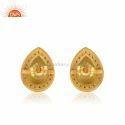 Zircon Yellow Chalcedony Gemstone Gold Plated Silver Stud Earrings Jewelry