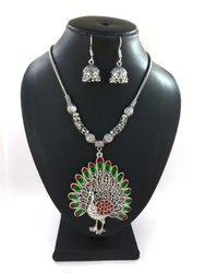 Meenakari Oxidized Necklace With Earring