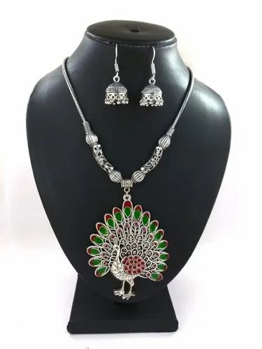 Silver Plated D9 Creation Meenakari Oxidized Necklace with Earring