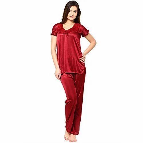 dc57c98f305 Plain Silk Ladies Night Suit