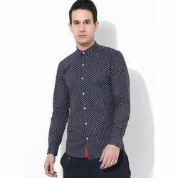 Mens Orange Dot Printed Shirt