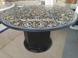 Black Marble Inlaid Pietra Dura Tables