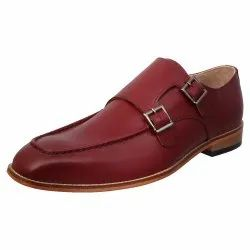 Double Monk Leather Shoes, Size: 6-12