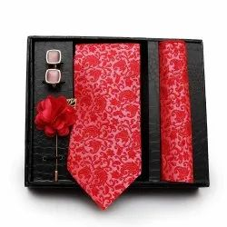 Silk And Cotton Set Of Tie Cuff Link And Pocket Square