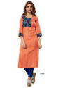 Crepe 3/4th Sleeve Peach Color Kurti