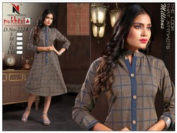 Fancy Cotton Handloom A Line Kurti