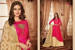 b834b580d109 Western Female Tapeta Silk Heavy Gown With Heavy Dupatta