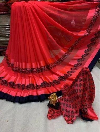 4db2fca8ed Causal Wear Printed Satin Patta Saree, Machine, 6.3 m (with blouse piece)
