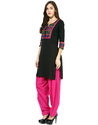 Pure Cotton Black Kurta and Pink Patiala Salwar
