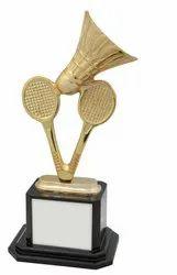 Golden Badminton Trophies