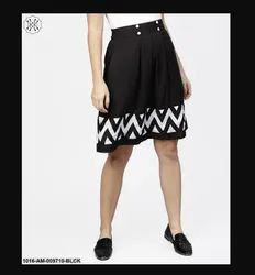 Aasi Black and White Printed Flared Skirt, Size: S-XXL