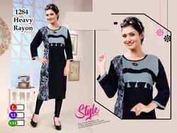 Regular Wear Female Chudi Tops, GSM: 150-200
