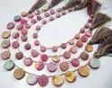 Natural Titanium Coated Agate Pink Druzy Round Shape Briolette Beads