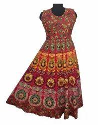 Cotton Round Jaipuri Mandala Print Women''S Dress, Size: XL