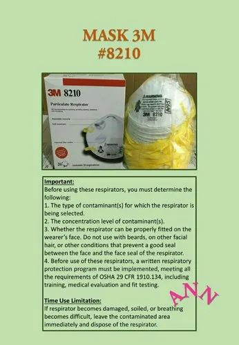 Reusable 3m N95 Respirator 8210, Certification: Available
