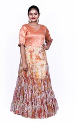Orange Flower Printed Fancy Gown