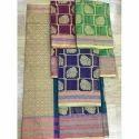 Blue and Green Printed Silk Banarasi Saree