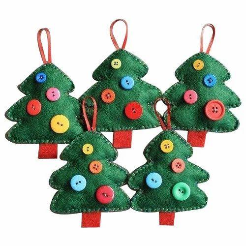 Green Felt Buttons Christmas Trees