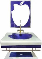 Apple Shape Blue and Silver Lip Counter Wash Basin Full Set with Mirror, Shlef, Steel Stand