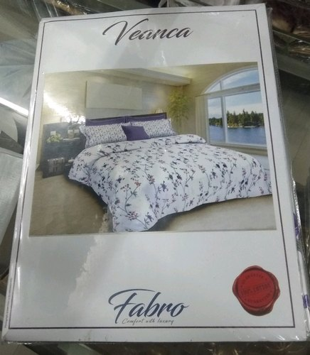 Cotton Double White Printed Bed Sheet, Queen Size Bed Plastic Cover