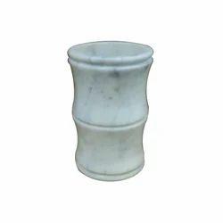 Natural White Round Marble Flower Vase