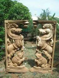 Wooden Yaali Statue