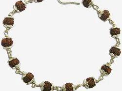 Rudraksha 5 Mukhi Silver Cap Bracelet