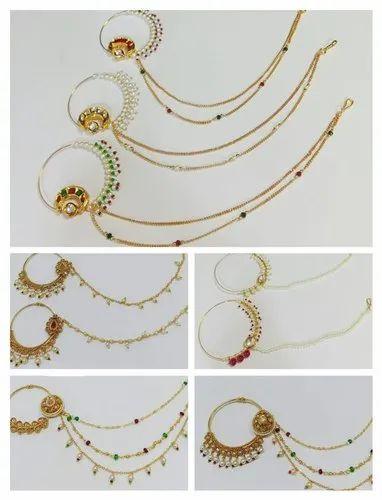 Golden Brass Eon Kundan Pearl Moti Bollywood Big Size Nose Pins Or
