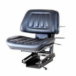 Black, Blue Leather Tractor Seat w/o Arm, Cushion Material: Foam