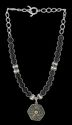 Black Matt Glass Beads With Silver Cris Pendant Necklace