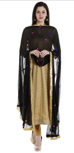 b0a820a498 Multicolor Black Chiffon Dupatta With Multicoloured Embroidery DB1362